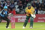 Dan Christian of Nottinghamshire Outlaws is out caught by Ben Cox of Worcestershire Rapids during the Vitality T20 Blast North Group match between Nottinghamshire County Cricket Club and Worcestershire County Cricket Club at Trent Bridge, West Bridgford, United Kingdon on 18 July 2019.