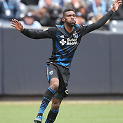 NEW YORK, NEW YORK - April 12: Shaun Francis #20 of San Jose Earthquakes in action during the New York City FC Vs San Jose Earthquakes regular season MLS game at Yankee Stadium on April 1, 2017 in New York City. (Photo by Tim Clayton/Corbis via Getty Images)