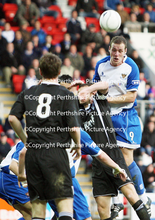 St Johnstone v Dunfermline....10.11.07<br /> Kenny Deucher heads the ball into the goal only to see it disallowed<br /> Picture by Graeme Hart.<br /> Copyright Perthshire Picture Agency<br /> Tel: 01738 623350  Mobile: 07990 594431