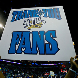 December 15, 2010; A sign is held up following a win by the New Orleans Hornets over the Sacramento Kings at the New Orleans Arena. The Hornets defeated the Kings 94-91. Mandatory Credit: Derick E. Hingle
