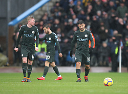 (L-R) Kevin De Bruyne, Bernardo Silva and Sergio Aguero of Manchester City look dejected after conceding late in the game - Mandatory by-line: Jack Phillips/JMP - 03/02/2018 - FOOTBALL - Turf Moor - Burnley, England - Burnley v Manchester City - English Premier League