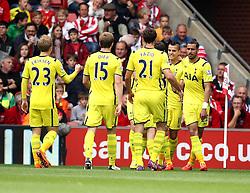 Tottenham celebrate Tottenham Hotspur's Erik Lamela's goal - Photo mandatory by-line: Robbie Stephenson/JMP - Mobile: 07966 386802 - 25/04/2015 - SPORT - Football - Southampton - ST Marys Stadium - Southampton v Tottenham Hotspur - Barclays Premier League
