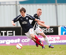 Falkirk's Thomas Grant and Dunfermline's Ryan Thomson..half time : Falkirk v Dunfermline, 16/2/2013..©Michael Schofield.
