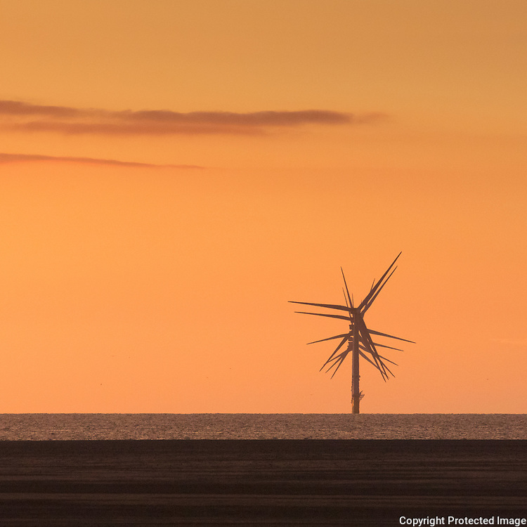 Wind Turbines at Burbo Bank in Liverpool Bay, Hoylake, Merseyside.