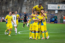 Nk Domzale players celebrate their goal during football match between NK Domzale and FC Lusitanos Andorra in second leg of UEFA Europa league qualifications on July 7, 2016 in Andorra la Vella, Andorra. Photo by Ziga Zupan / Sportida