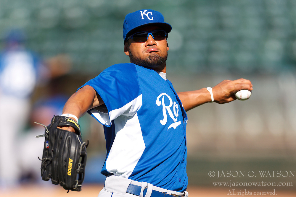 June 14, 2011; Oakland, CA, USA;  Kansas City Royals center fielder Melky Cabrera (53) warms up during batting practice before the game against the Oakland Athletics at Oakland-Alameda County Coliseum.  Kansas City defeated Oakland 7-4.