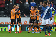 Hull city celebrate Hull City midfielder David Meyler scoring to go 1-0 up during the Sky Bet Championship match between Hull City and Birmingham City at the KC Stadium, Kingston upon Hull, England on 24 October 2015. Photo by Ian Lyall.