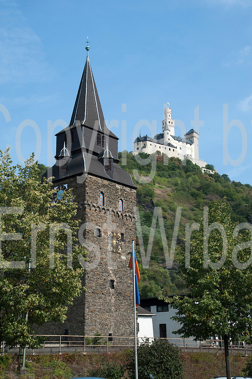 St.-Barbara-Kirche, Marksburg, Braubach, Oberes Mittelrheintal, Rheinland-Pfalz, Deutschland | St. Barbara church, castle Marksburg, Braubach, Upper Middle Rhine Valley, Rhineland-Palatinate, Germany