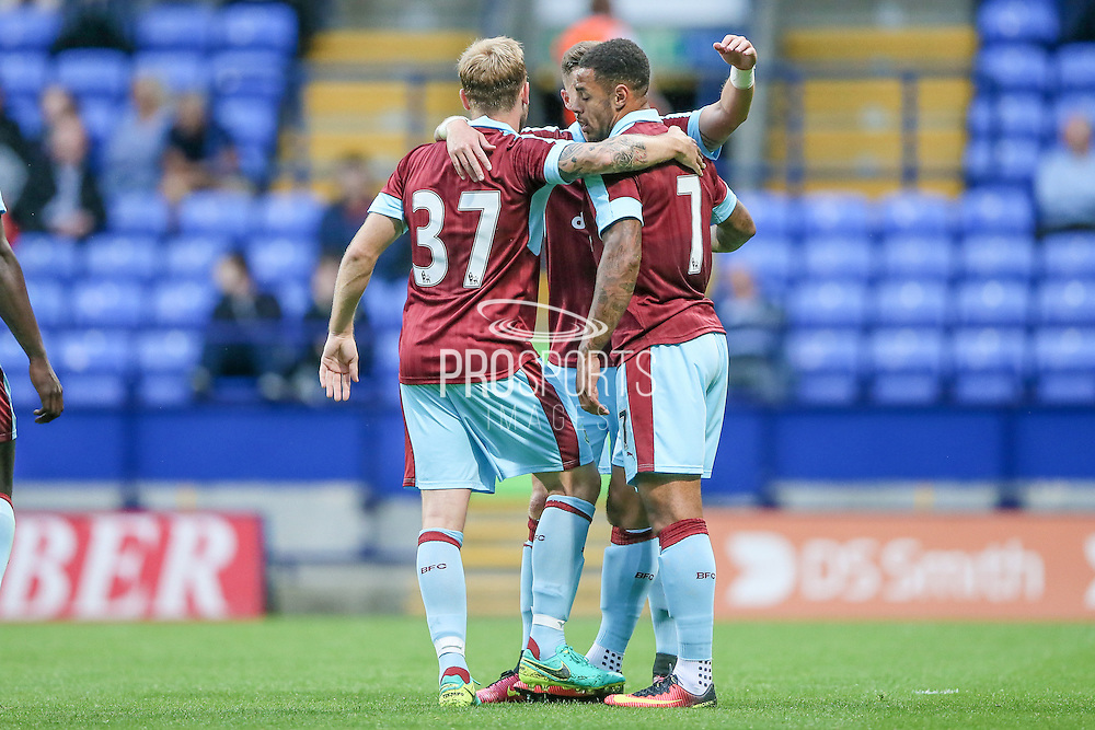 Burnley players celebrate Andre Gray's (Burnley) goal. 1-0  during the Pre-Season Friendly match between Bolton Wanderers and Burnley at the Macron Stadium, Bolton, England on 26 July 2016. Photo by Mark P Doherty.