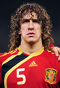 Carles Puyol(c)  during the soccer match of the 2009 Confederations Cup between Spain and South Africa played at the Freestate Stadium,Bloemfontein,South Africa on 20 June 2009.  Photo: Gerhard Steenkamp/Superimage Media.