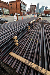 Deliveries of steel rails for the Kansas City streetcar line, April 17, 2014 .