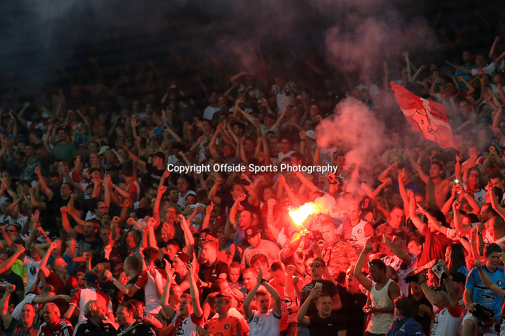 15 September 2016 - UEFA Europa League (Group A) - Feyenoord v Manchester United - Feyenoord fans let of a flare as they celebrate their winning goal - Photo: Marc Atkins / Offside.