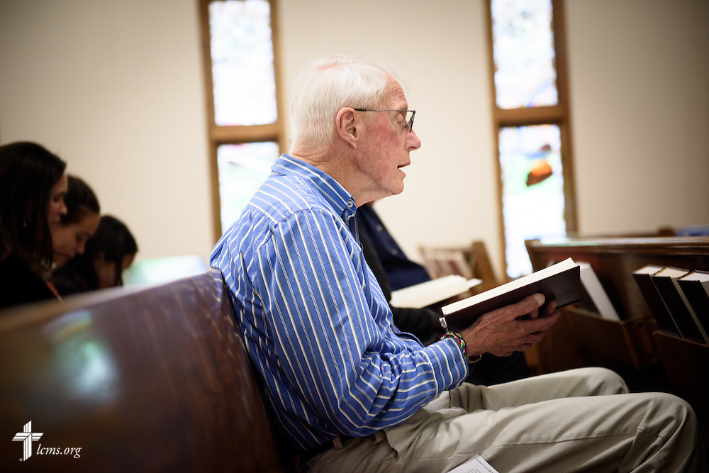 A parishioner sings during Lenten worship at Mount Olive Lutheran Church, on Wednesday, March 2, 2016, in Loveland, Colo. LCMS Communications/Erik M. Lunsford