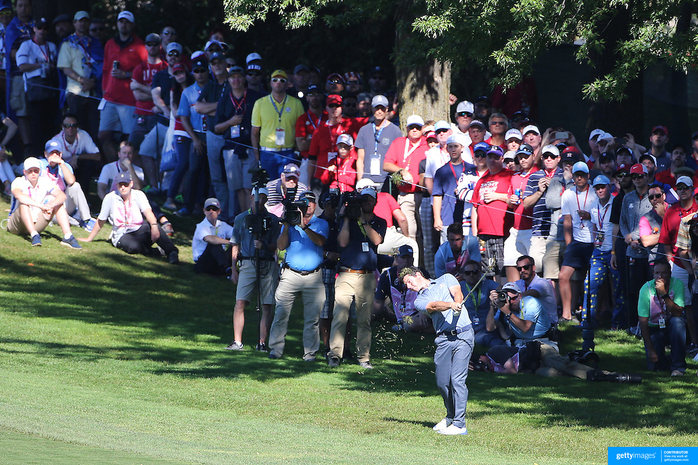 Ryder Cup 2016. Day Three. Rory McIlroy of Europe hits for the green on the fourteenth during the Sunday singles competition at  the Ryder Cup tournament at Hazeltine National Golf Club on October 02, 2016 in Chaska, Minnesota.  (Photo by Tim Clayton/Corbis via Getty Images)