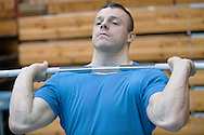 Adrian Zielinski from Poland (Tarpan Mrocza; category 85 kg) during training session two weeks before weightlifting IWF World Championships Wroclaw 2013 at the Olympic Sports Centre in Spala on October 08, 2013.<br /> <br /> Poland, Warsaw, September 16, 2013<br /> <br /> Picture also available in RAW (NEF) or TIFF format on special request.<br /> <br /> For editorial use only. Any commercial or promotional use requires permission.<br /> <br /> Mandatory credit:<br /> Photo by © Adam Nurkiewicz / Mediasport