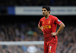 Liverpool's Luis Suarez cuts a dejected figure - Photo mandatory by-line: Dougie Allward/JMP - Tel: Mobile: 07966 386802 23/11/2013 - SPORT - Football - Liverpool - Merseyside derby - Goodison Park - Everton v Liverpool - Barclays Premier League