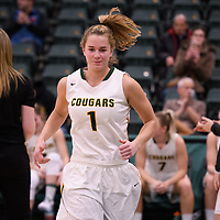 5th year forward Charlotte Kot (1) of the Regina Cougars in action during the home opener on November  10 at Centre for Kinesiology, Health and Sport. Credit: Arthur Ward/Arthur Images