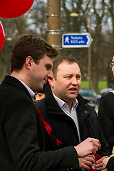 Pictured: Daniel Johnston and Ian Murray, shadow secretary of state of Scotland<br /> <br /> Scottish Labour leader Kezia Dugdale was joined by Edinburgh Southern candidate Daniel Johnson for campaigning and a walkabout in the Meadows. <br /> <br /> Ger Harley | EEm 17 April 2016