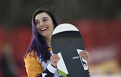 PYEONGCHANG, March 12, 2018  Brenna Huckaby from the United States celebrates during the awarding ceremony for the Women's Snowboard Cross SB-LL1 event at the 2018 PyeongChang Winter Paralympic Games at Jeongseon Alpine Centre, South Korea, March 12, 2018. Brenna Huckaby claimed the title of the event. (Credit Image: © Xia Yifang/Xinhua via ZUMA Wire)