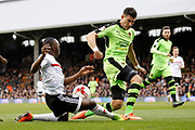 Fulham midfielder Neeskens Kebano (7) looks to get a cross in to the box during the EFL Sky Bet Championship match between Fulham and Wolverhampton Wanderers at Craven Cottage, London, England on 18 March 2017. Photo by Andy Walter.
