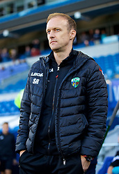 CARDIFF, WALES - Thursday, August 9, 2018: The New Saints FC's manager Scott Ruscoe during the UEFA Europa League Third Qualifying Round 1st Leg match between The New Saints FC and FC Midtjylland at Cardiff City Stadium. (Pic by David Rawcliffe/Propaganda)