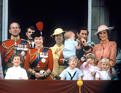 "Embargoed to 0001 Monday August 21 File photo dated 15/06/85 of The Prince of Wales with the Princess of Wales, baby Prince Harry, Prince William, the Duke of Edinburgh, Prince Edward, Queen Elizabeth II and Princess Anne on the balcony of Buckingham Palace, London to watch the fly past. Diana, Princess of Wales was a woman whose warmth, compassion and empathy for those she met earned her the description the ""people's princess""."
