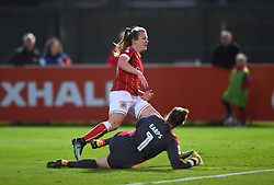 Mary Earps of Reading Women denies Lauren Hemp of Bristol City Women - Mandatory by-line: Paul Knight/JMP - 28/10/2017 - FOOTBALL - Stoke Gifford Stadium - Bristol, England - Bristol City Women v Reading Women - FA Women's Super League
