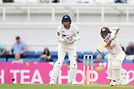 Ollie Pope of Surrey and Jonny Bairstow of Yorkshire during the Specsavers County C'ship Div One match at the Kia Oval, London<br /> Picture by Simon Dael/Focus Images Ltd 07866 555979<br /> 11/05/2018