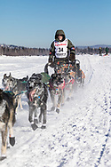 Musher Jeff King competing in the 45rd Iditarod Trail Sled Dog Race on the Chena River after leaving the restart in Fairbanks in Interior Alaska.  Afternoon. Winter.