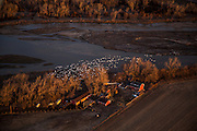 Aerials of the Platte River Nebraska.  Sandhill Cranes annual migration stop over on the Platte River.