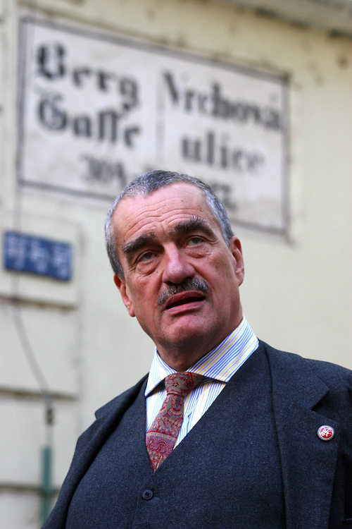 Karel Schwarzenberg - Minister of Foreign Affairs of the Czech Republic during a walk close to Prague castle. Karel Schwarzenberg is the first official presidential candidate for the next elections for the head of state.