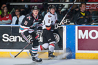 KELOWNA, CANADA - OCTOBER 24: Tomas Soustal #15 of Kelowna Rockets skates against the Calgary Hitmen on October 24, 2015 at Prospera Place in Kelowna, British Columbia, Canada.  (Photo by Marissa Baecker/Shoot the Breeze)  *** Local Caption *** Tomas Soustal;