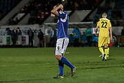 Eastleigh FC Striker James Constable at full time during the Vanarama National League match between Southport and Eastleigh at the Merseyrail Community Stadium, Southport, United Kingdom on 17 December 2016. Photo by Pete Burns.