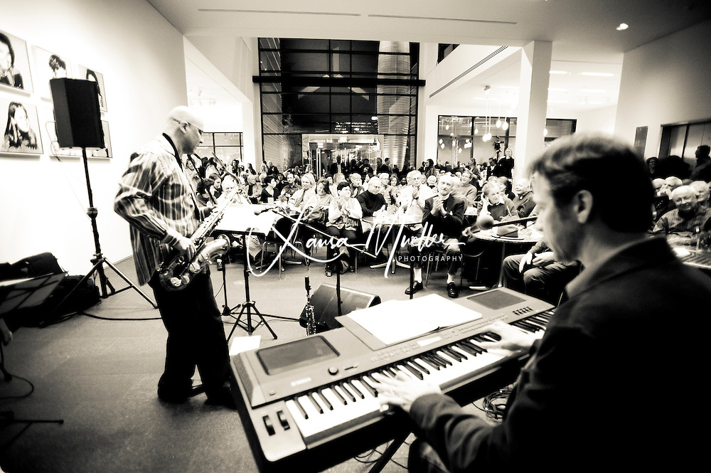 20111202 - Jazz at the Bechtler Museum of Modern Art..The Ziad Jazz Quartet entertained a standing-room-only crowd with holiday classics including Frosty the Snowman, Greensleeves (Coltrane version), Winter Wonderland and Little Drummer Boy..photo by Laura Mueller www.lauramuellerphotography.com