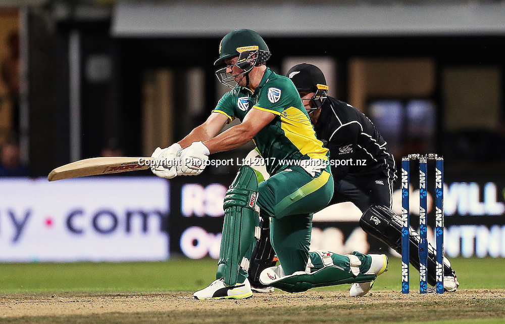 South Africa's AB de Villiers batting during the One Day International cricket match - New Zealand Black Caps v South Africa played at Seddon Park, Hamilton, New Zealand on Sunday 19 February 2017.  Copyright photo: Bruce Lim / www.photosport.nz