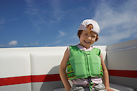 Portrait of boy (7-9) in life jacket