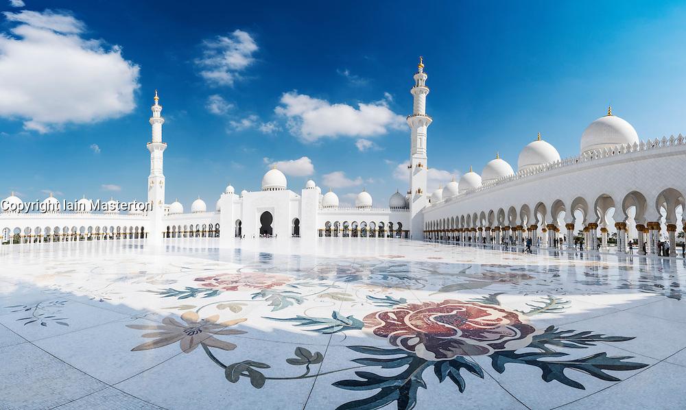 Courtyard of Sheikh Zayed Grand Mosque in Abu Dhabi United Arab Emirates