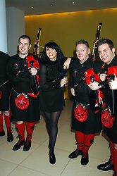MARTINE McCUTCHEON and pipers at 'Not Another Burns Night' in association with CLIC Sargebt and Children's Hospice Association Scotland held at ST.Martins Lane Hotel, London on 3rd March 2008.<br />
