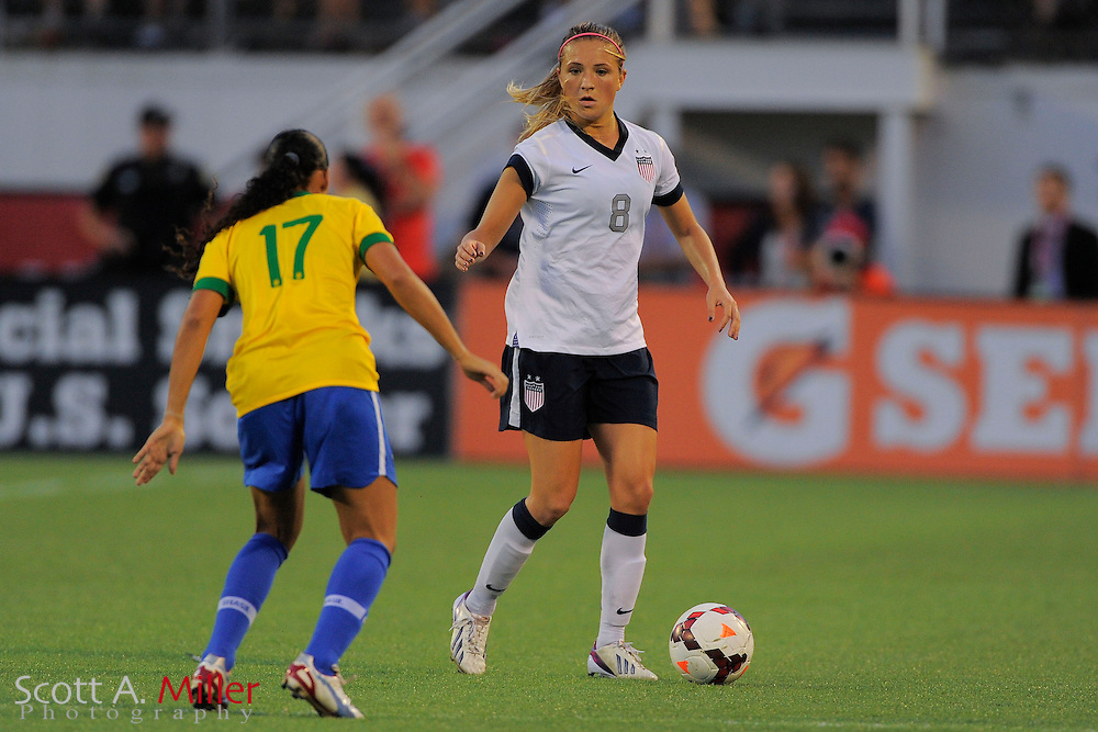U.S. defender Kristie Mewis (8) in action during the United States' 4-1 win over Brazil in an international friendly at the Florida Citrus Bowl on Nov. 10, 2013 in Orlando, Florida. <br /> <br /> &copy;2013 Scott A. Miller