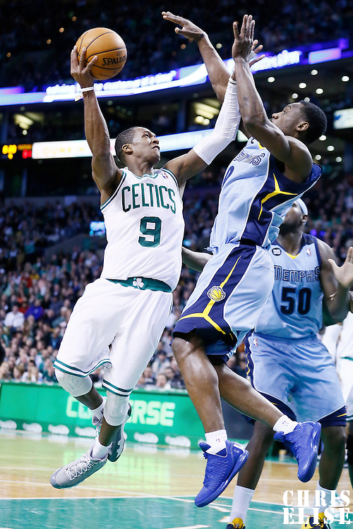 02 January 2013: Boston Celtics point guard Rajon Rondo (9) goes for the layup against Memphis Grizzlies shooting guard Tony Allen (9) during the Memphis Grizzlies 93-83 victory over the Boston Celtics at the TD Garden, Boston, Massachusetts, USA.