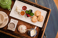 5 November, 2008. New York, NY. Cream tea and a sweet dish are on a tray here at the Podunk, a self-styled &quot;American tearoom&quot; in the East Village.The owner, Elspeth Treadwell, left a career in publishing to open Podunk six years ago, in 2002. <br /> <br /> &copy;2008 Gianni Cipriano for The New York Times<br /> cell. +1 646 465 2168 (USA)<br /> cell. +1 328 567 7923 (Italy)<br /> gianni@giannicipriano.com<br /> www.giannicipriano.com