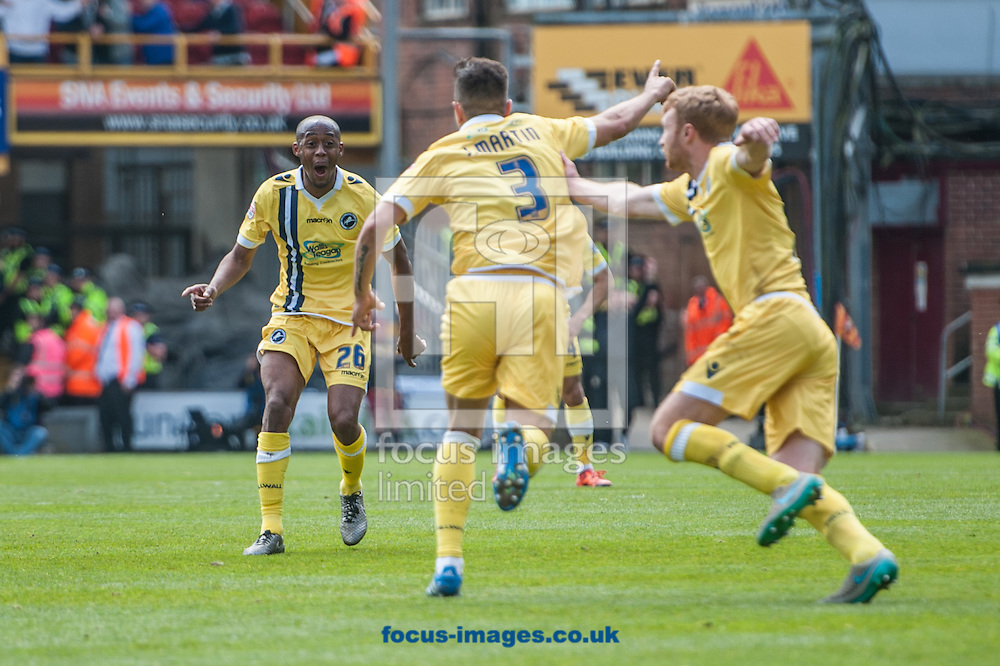 Joe Martin of Millwall celebrates scoring his sides third goal with a free kick during the Sky Bet League 1 Playoff  Semi-final Leg One at the Coral Windows Stadium, Bradford<br /> Picture by Matt Wilkinson/Focus Images Ltd 07814 960751<br /> 15/05/2016