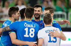Mitja Gasparini of Slovenia and other players celebrate during volleyball match between National teams of Slovenia and Portugal in 2nd Round of 2018 FIVB Volleyball Men's World Championship qualification, on May 26, 2017 in Arena Stozice, Ljubljana, Slovenia. Photo by Vid Ponikvar / Sportida