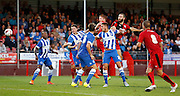 Joe McNerney goes close with a header during the Pre-Season Friendly match between Crawley Town and Brighton and Hove Albion at the Checkatrade.com Stadium, Crawley, England on 22 July 2015. Photo by Michael Hulf.