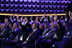 LIMA, Sept. 14, 2017  International Olympic Committee members raise hands during the presentation and announcement ceremony of the 2024 and 2028 Summer Olympic Games at the 131st IOC session in Lima, Peru, on Sept. 13, 2017. The IOC makes historic decision by simultaneously awarding Olympic Games 2024 to Paris and 2028 to Los Angeles on wednesday. (Credit Image: © Li Ming/Xinhua via ZUMA Wire)