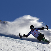 Ian Bishop, Great Britain, in action during the Men's Giant Slalom Sitting, Adaptive competition at Coronet Peak, during the Winter Games. Queenstown, New Zealand, 23rd August 2011. Photo Tim Clayton...