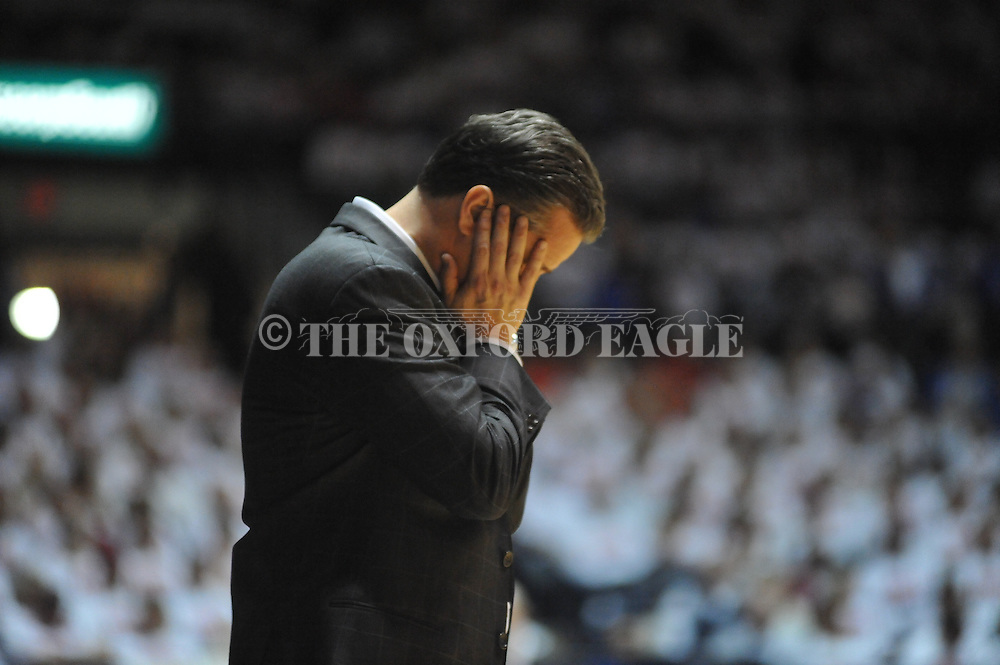 "Kentucky head coach John Calipari reacts against Mississippi at the C.M. ""Tad"" Smith Coliseum on Tuesday, January 29, 2013."