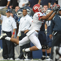 Oct 31, 2009; East Hartford, CT, USA; Rutgers wide receiver Tim Brown (2) makes a diving catch during first half Big East NCAA football action between Rutgers and Connecticut at Rentschler Field.