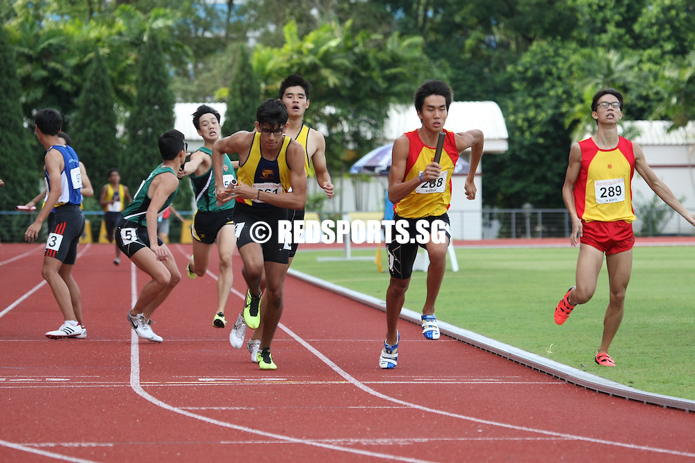 Choa Chu Kang Sports Complex, Wednesday, April 17, 2013 &mdash; Anglo-Chinese Junior College (ACJC) saw off the challenge of Hwa Chong Institution (HCI) to win the 4&times;400 metres relay gold at the 54th National Schools Track and Field Championships. Singapore Sports School took the gold medals in the B and C Division 4x400m relay finals. <br /> <br /> Story: http://www.redsports.sg/2013/04/22/4x400m-relays-sports-school-acjc/