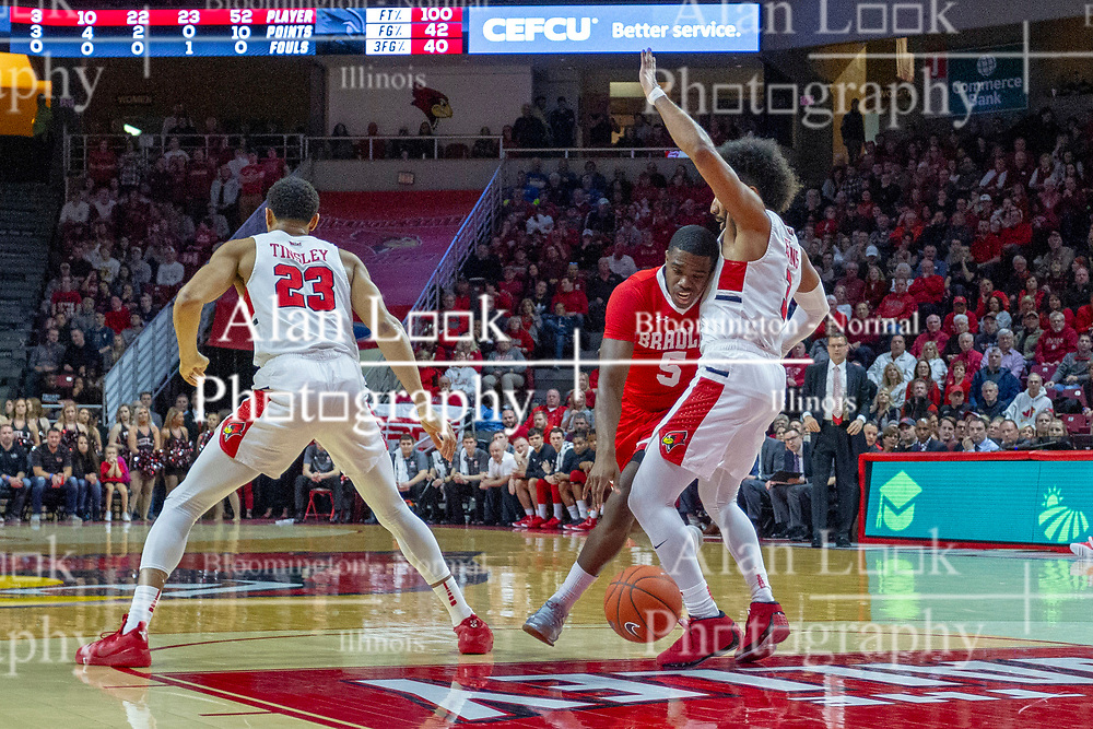 NORMAL, IL - February 16: Darrell Brown drives bewteen William Tinsley and Keyshawn Evans during a college basketball game between the ISU Redbirds and the Bradley Braves on February 16 2019 at Redbird Arena in Normal, IL. (Photo by Alan Look)
